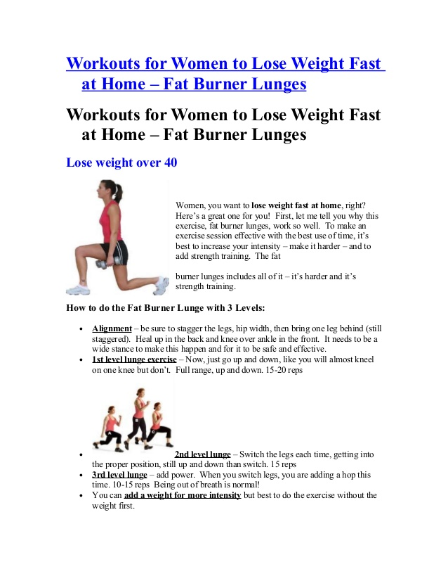 Workouts for women to lose weight fast at home fat burner lunge